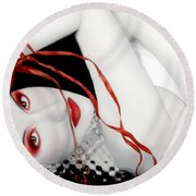 The Red Facade - Self Portrait Round Beach Towel