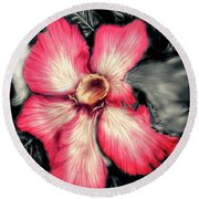 The Red Flower Round Beach Towel by Darren Cannell