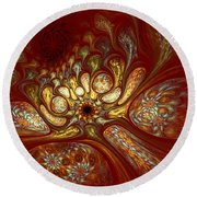 The Red Forest Round Beach Towel