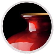 The Red Glass Vase Round Beach Towel
