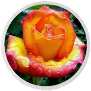 The Red Gold Rose Round Beach Towel
