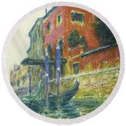 The Red House Round Beach Towel by Claude Monet