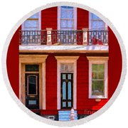 The Red House-nola-faubourg Marigny Round Beach Towel