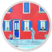 The Red House On The Island Of Burano Round Beach Towel