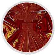The Red Palace In Abstract Round Beach Towel