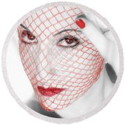 The Red Realm - Self Portrait Round Beach Towel