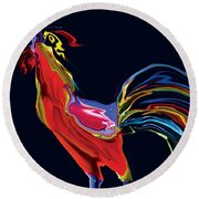 The Red Rooster Round Beach Towel