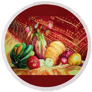 The Red Shawl  Round Beach Towel