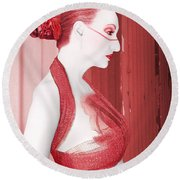 The Red Stripe - Self Portrait Round Beach Towel