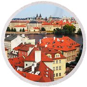 The Red Tile Roofs Of Prague Round Beach Towel