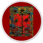 The Red Tree -or- Paint Round Beach Towel