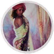The Red Turban Round Beach Towel