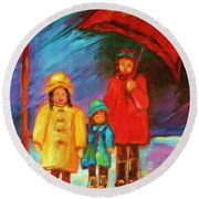 The Red Umbrella Round Beach Towel