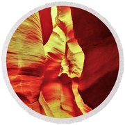 The Reddish Yellow Path Round Beach Towel