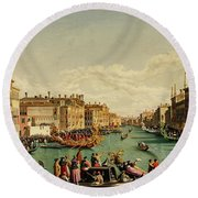 The Redentore Feast In Venice Round Beach Towel