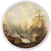 The Redoutable At Trafalgar Round Beach Towel by Auguste Etienne Francois Mayer