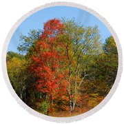 The Reds And Greens Of Autumn Round Beach Towel