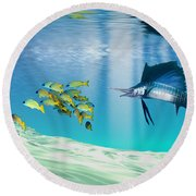 The Reef Round Beach Towel by Corey Ford