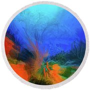 The Reef In Watercolor Abstract Round Beach Towel
