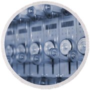 The Reel Spools On The Assembly Line In Blue Round Beach Towel