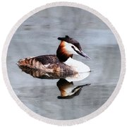 The Reflection Of A Grebe Round Beach Towel