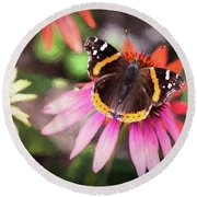 The Regal Red Admiral Round Beach Towel