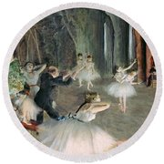 The Rehearsal Of The Ballet On Stage Round Beach Towel