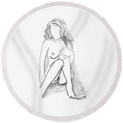 The Relaxing Woman Round Beach Towel