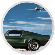 The Rendezvous - 1968 Mustang Fastback Round Beach Towel