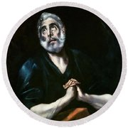 The Repentant Peter El Greco Round Beach Towel