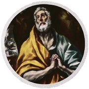 The Repentant Saint Peter Round Beach Towel