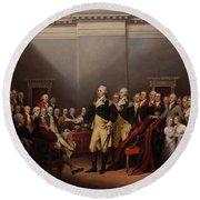 The Resignation Of General George Washington Round Beach Towel
