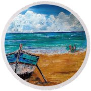 The Resting Boat And The Beach Holidays Round Beach Towel