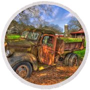 The Resting Place Boswell Farm 1947 Dodge Dump Truck Round Beach Towel