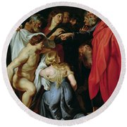 The Resurrection Of Lazarus Round Beach Towel by Rubens