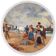 The Return Of Fishermen Round Beach Towel