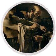 The Return Of The Prodigal Son Round Beach Towel by Giovanni Francesco Barbieri