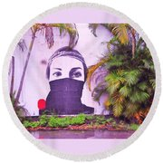 Fighting For Life  Round Beach Towel