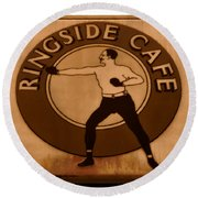 The Ringside Cafe Round Beach Towel