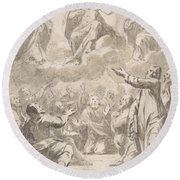 The Risen Christ Between The Virgin And St. Joseph Appearing To St. Peter And Other Apostles Round Beach Towel