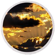 The Rising Of The Setting Sun Round Beach Towel