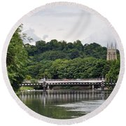 The River And Bridges At Burton On Trent Round Beach Towel