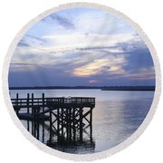 The River At Dusk Round Beach Towel