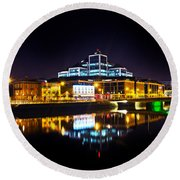 The River Liffey Reflections 2 Round Beach Towel