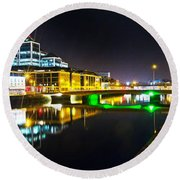 The River Liffey Reflections 3 Round Beach Towel