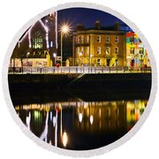 The River Liffey Reflections Round Beach Towel