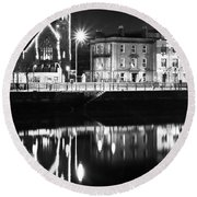 The River Liffey Reflections Bw Round Beach Towel