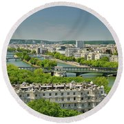 The River Of Paris Round Beach Towel