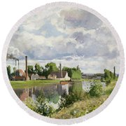 The River Oise Near Pontoise Round Beach Towel by Camille Pissarro