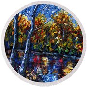 The River Song  Round Beach Towel